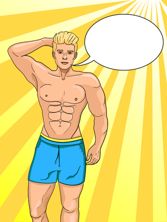 Male symbol on the beach. The pumped up guy on the sea. Bodybuilders men model in the summer Pop art vector illustration. Imitation comic style. Text bubble. Illustration