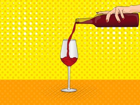 Pop art female hand pours from the bottle into a glass of red wine. Vector illustration, imitation comic style. Illustration
