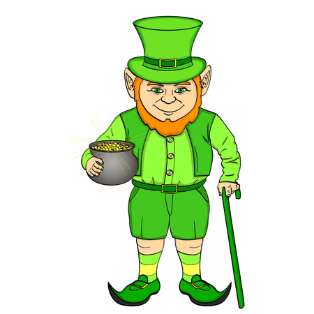 Leprechaun pop art. happy St. Patrick holds a cauldron full of gold coins in his hands. vector illustration. Object on a white background Illustration