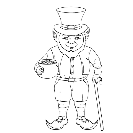 Leprechaun pop art. happy St. Patrick holds a cauldron full of gold coins in his hands. vector illustration. Object Coloring book Illustration