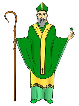 Pop art patron saint of Ireland. Saint Patrick holding a trefoil and crosier staff with greeting ribbon and reminder date of his patron day in March 17. Imitation comic style vector illustration Vectores