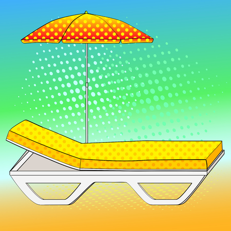 Deck chair under an umbrella on sandy beach. Comic book style imitation. Vintage retro style. Conceptual object Illustration