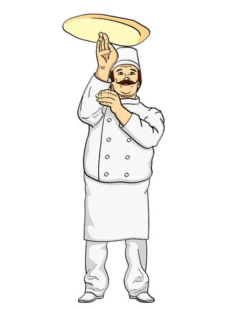 Man cook pizza. Chef tossing pizza dough. Comic book style imitation. Vintage retro style. Object on a white background Illustration
