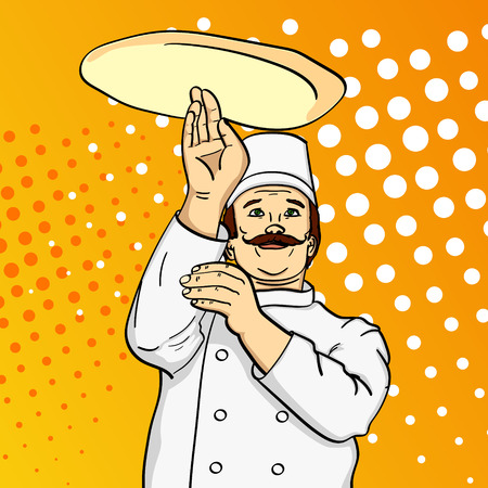 Pop art man cook pizza. Chef tossing pizza dough. Comic book style imitation. Vintage retro style. conceptual