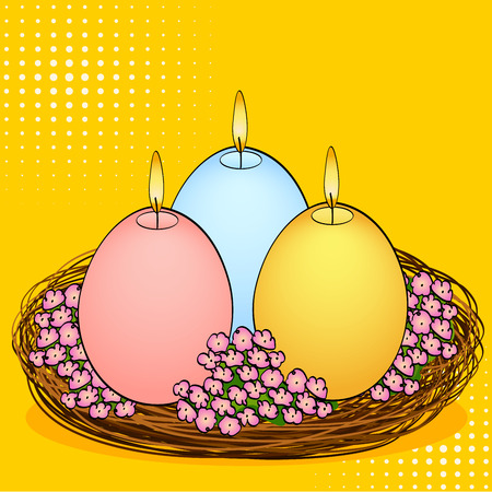 Pop art Easter candles in the shape of an egg. Three pieces of different colors with fire, in a basket nest and flowers.