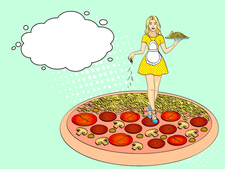 Pop art process of cooking pizza. Comic book style imitation vintage retro style, text bubble.