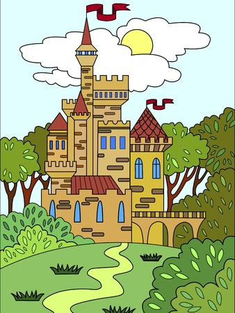 Child colored picture Castle in the forest. The building is made of bricks in more often. The fifteenth century. Illustration for a book.