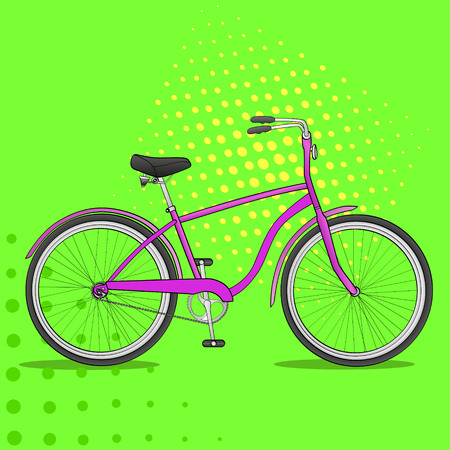 Pop art bike. The vehicle is pink. Comic book style imitation vector bicycle called cycle