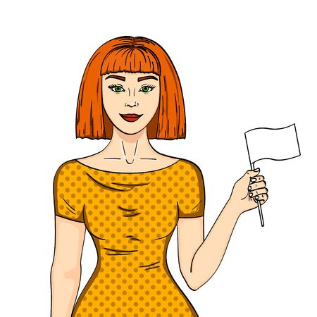 Pop art Red haired girl with a white flag. Woman abandoned her position Comic style imitation. Object on white background.