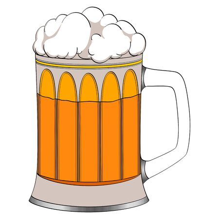 Object on white background beer in a glass mug. Color vector illustration.