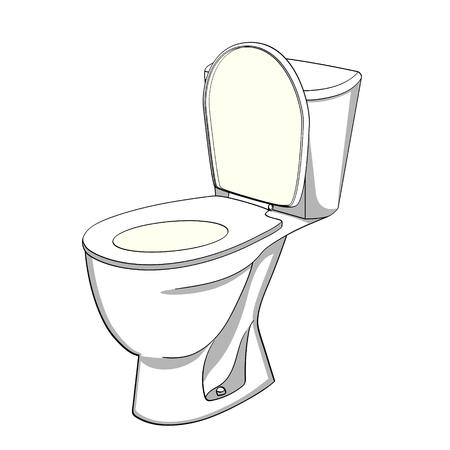 Object on white background flush toilet, WC. Color background illustration.