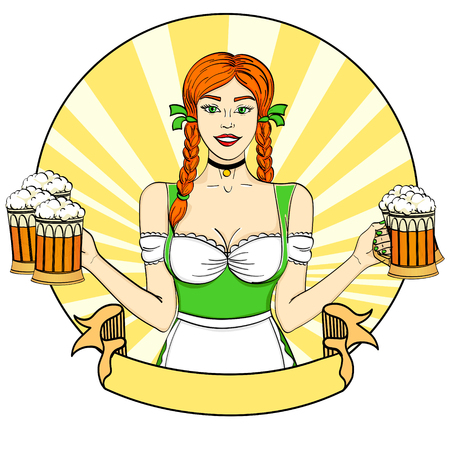 Pop art woman waitress carrying five beer glasses Ilustrace
