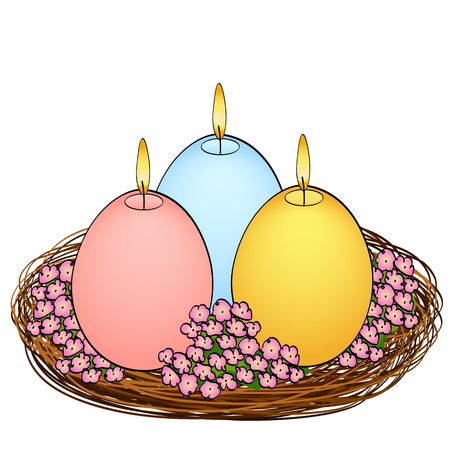 Colorful candles in the shape of an egg on a white background