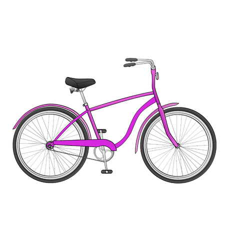 Isolated object on white background bike. The vehicle is pink. Vector bicycle called cycle Illustration