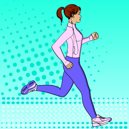 Morning run. Sport girl jogging pop art retro vector illustration. Comic book style imitation. In sports clothes with headphones and a player