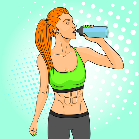 Sport girl pop art retro vector illustration. Comic book style imitation. In sports clothes drinks water from a sports bottle Illustration