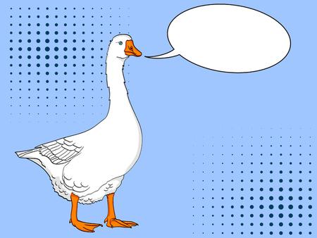 Pop art duck, goose, bird on a color blue background. Comic book style imitation. Text bubble Illustration