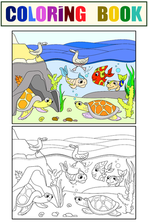 Wetland landscape coloring book and color for adults vector illustration. Underwater world with turtles In the lake. Black and white lines