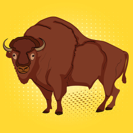 Pop art animal artiodactyl, bison or cow, comic book style imitation