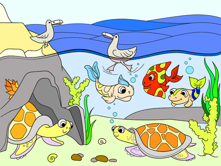 Wetland landscape with animals vector