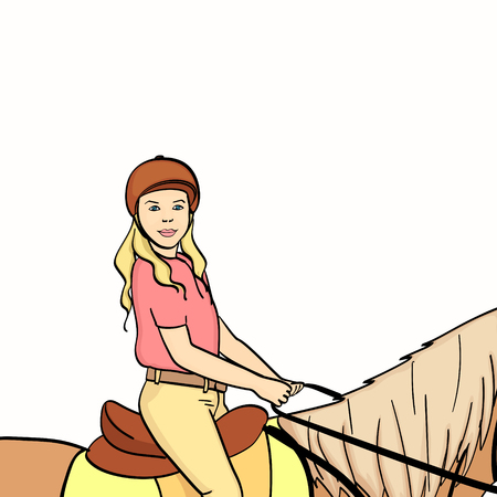 equestrian sport for children. Isolated on white background. Vector illustration. Color book style Stock Illustratie