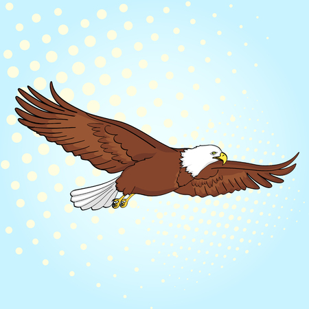 Pop art background bird eagle, falcon. Vector of an imitation retro comic style