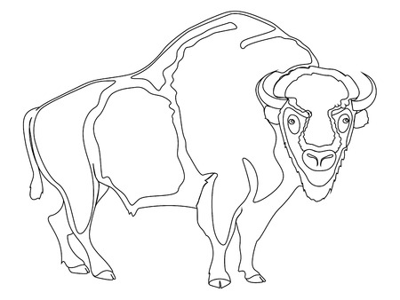 Animal artiodactyl, bison, cow. Comic book style imitation. Object on white background. Book coloring for children