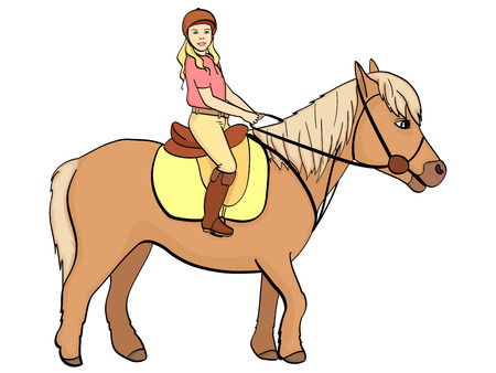 equestrian sport for children. Vector illustratio. Isolated object on white background