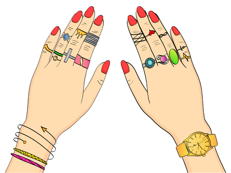 isolated object on white background colored vector illustration. Hands of women in fashion jewelry, rings, jewelry, watches and Bijou. Background imitation retro comics