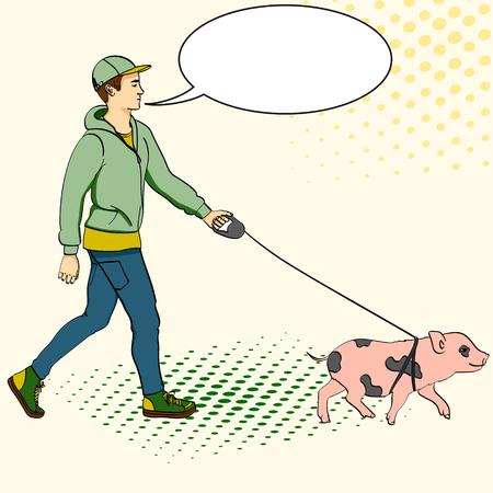 Pop art man walking a mini pig. Vector illustration of an imitation comic style, retro. text bubble