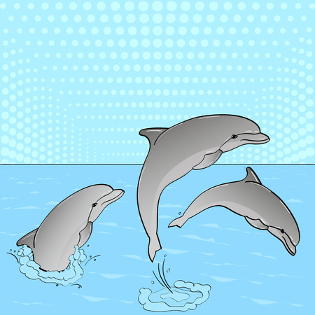 Pop Art. Three dolphins play in the water.