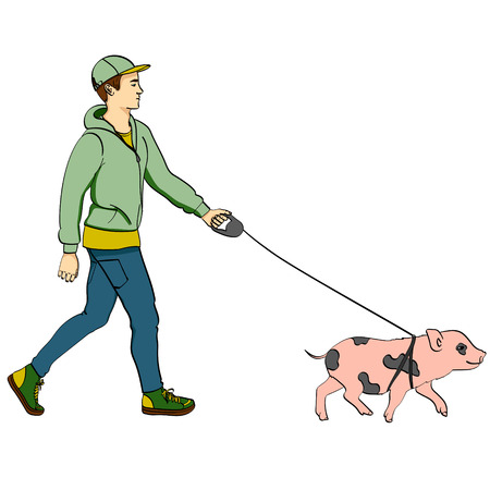 Pop art man walking a mini pig. Vector illustration of an imitation comic style, retro. isolated object on white background