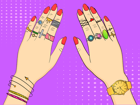 Pop art colored vector illustration. Hands of women in fashion jewelry, rings, jewelry, watches and Bijou. Background imitation retro comics