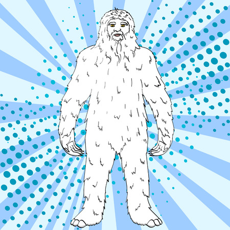 Pop art vector illustration of a Yeti Illustration