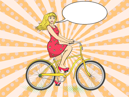 Pop art background with sun rays. Young beauty woman ride bicycle retro vector illustration. Color background. Comic book style imitation. Text bubble