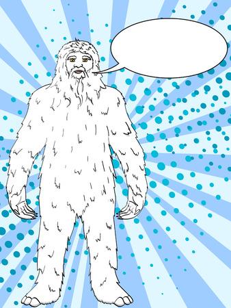 Pop art background vector illustration Nepal, Yeti, Abominable Snowman. Color comic book style imitation big foot Text bubble Illustration