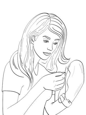 Isolated object on white background point. Young, the girl sews mens black socks with a needle and thread. Children coloring book, vector illustration Illusztráció