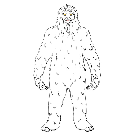 Isolated object on white background point. vector illustration Nepal, Yeti, Abominable Snowman. Color comic book style imitation big foot