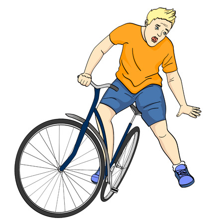 Isolated object on white background. The man is falling off the bicycle. Emotion funk, pain, vector Illustration