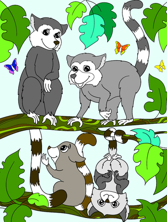 Childrens book and color cartoon family of lemurs on nature. For adults vector illustration. Anti-stress for adult. Black and white lines
