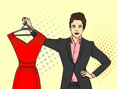 Businesswoman holding an evening red dress Illustration
