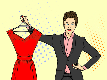 Businesswoman holding an evening red dress Illustration