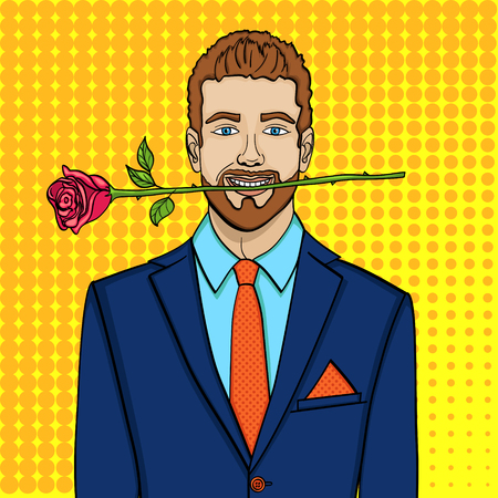 Pop art man, businessman with a rose in his teeth. Imitation comic style, vector Vettoriali