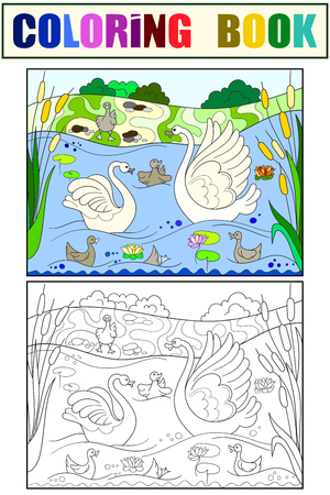 Childrens coloring book and color cartoon family of Swan on nature.