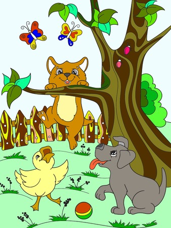 Childrens color cartoon animals friends in nature. Duckling, puppy and kitten. Duck, dog and cat