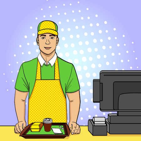 Pop art background, point. A young guy in uniform works at the fast food box office. Comic style, food, vector Çizim