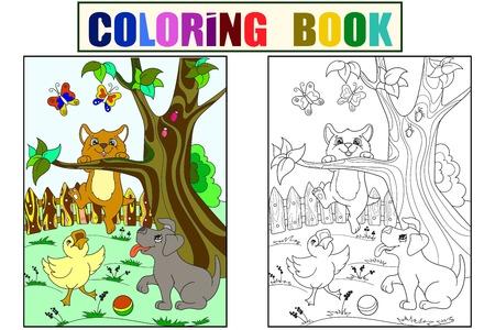 Kinderfarbe und Färbung Cartoon Tiere Freunde in der Natur. Entlein, Welpe und Kätzchen. Ente, Hund und Katze
