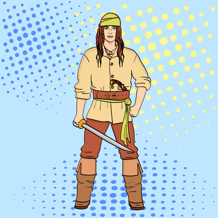 A man is a pirate, a sailor. Vector, pop art background. Imitation comic style.