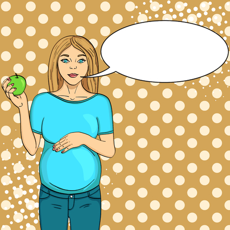 Pop art background green. Pregnant woman on the ninth month. Holds an apple in his hand. Vector illustration, text bubble
