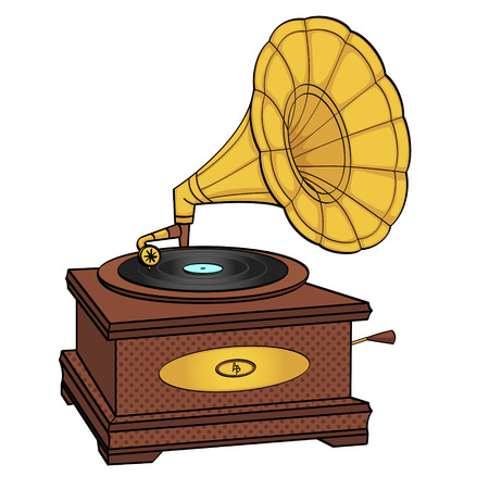 Gramophone comic book pop art retro style vector. isolated object on white background